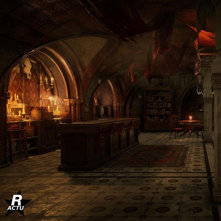 Décoration gothique du bar de la distillerie clandestine dans Red Dead Online