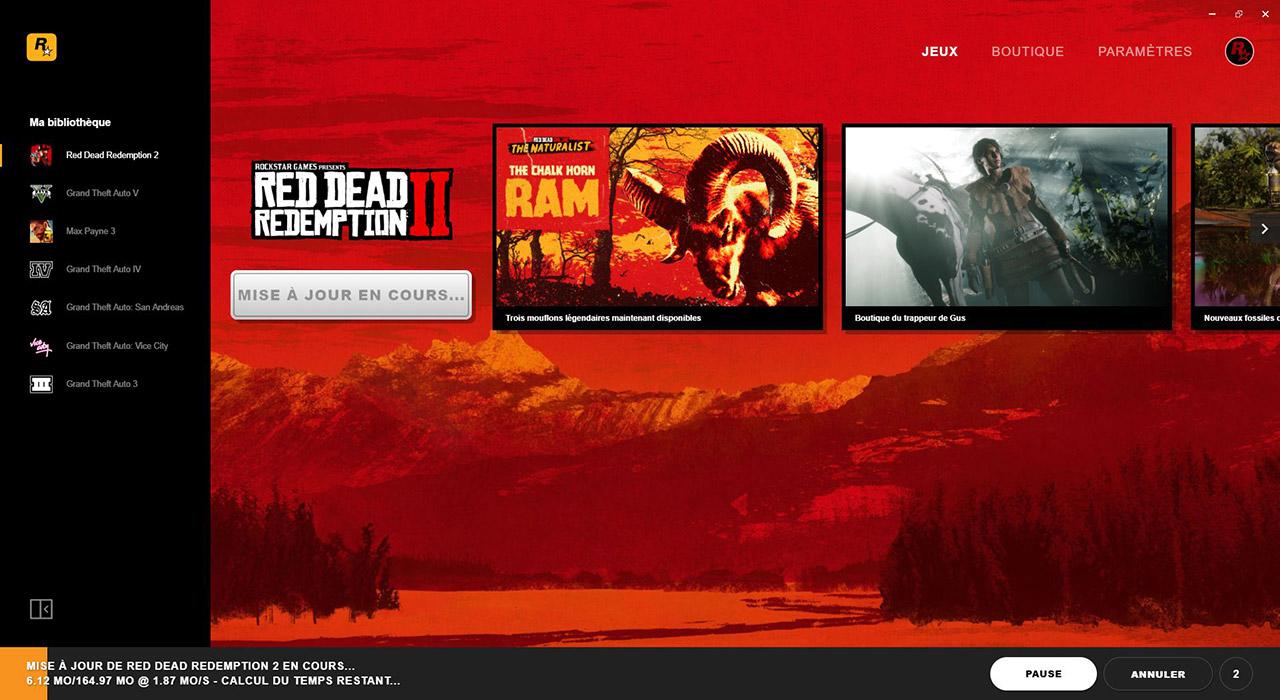 Mise à jour Red Dead Redemption 2